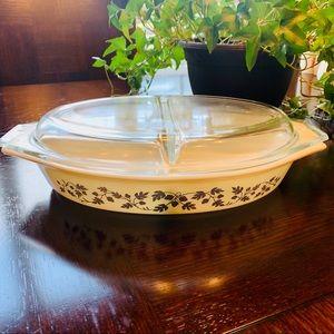 Vintage Pyrex Golden Acorn Double-Dish